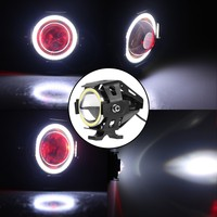 Autoki 12V Angel Eyes U7 High Low Beam Strobe Motorcycle Headlight LED Projector Motor Spare Parts Spot Light
