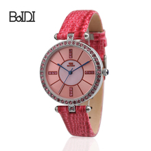Hot sale big clear dial crystal case luxury fashion lady's red leather adjustable wrist watches BD71060