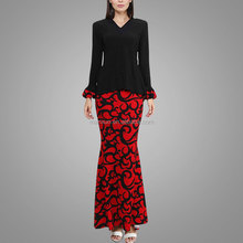 2016 Kebaya Printing Baju Kurung Modern In Black Wholesale Model Baju Kurung Modern Black And Red Islamic Clothing Fashion