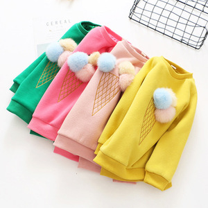 New style round collar pure color sweater ice cream pattern baby girls pullover sweater