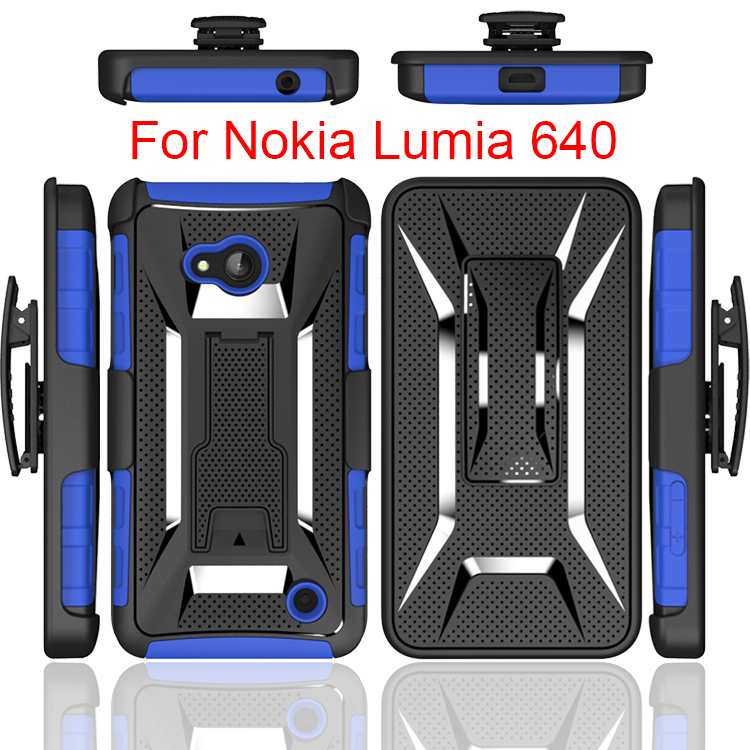 2017 Guangzhou Manufacturer For Nokia Lumia 640 Tough Shockproof Belt Clip Holster Case TPU With Stand