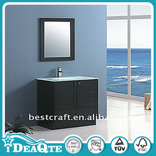 Glass wash basin waterproof bathroom cabinet