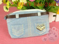 New trendy eco-friendly denim fabric jeans cosmetic bag
