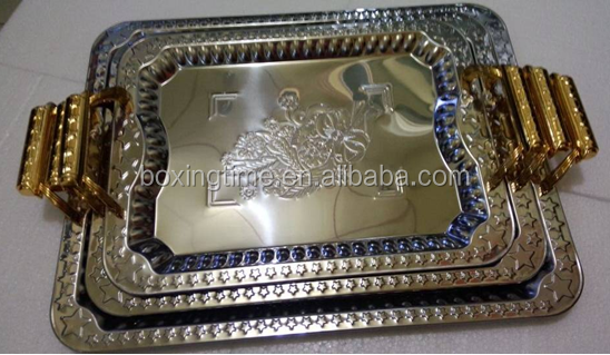 3pcs rectangle stainless steel rectangular serving Tray /Plate with gold handle