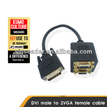 DVI male to two VGA female splitter cable