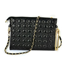 Mini Gold Chain Quilted Clutch Purse Cross Body Evening handbags Elegant Black