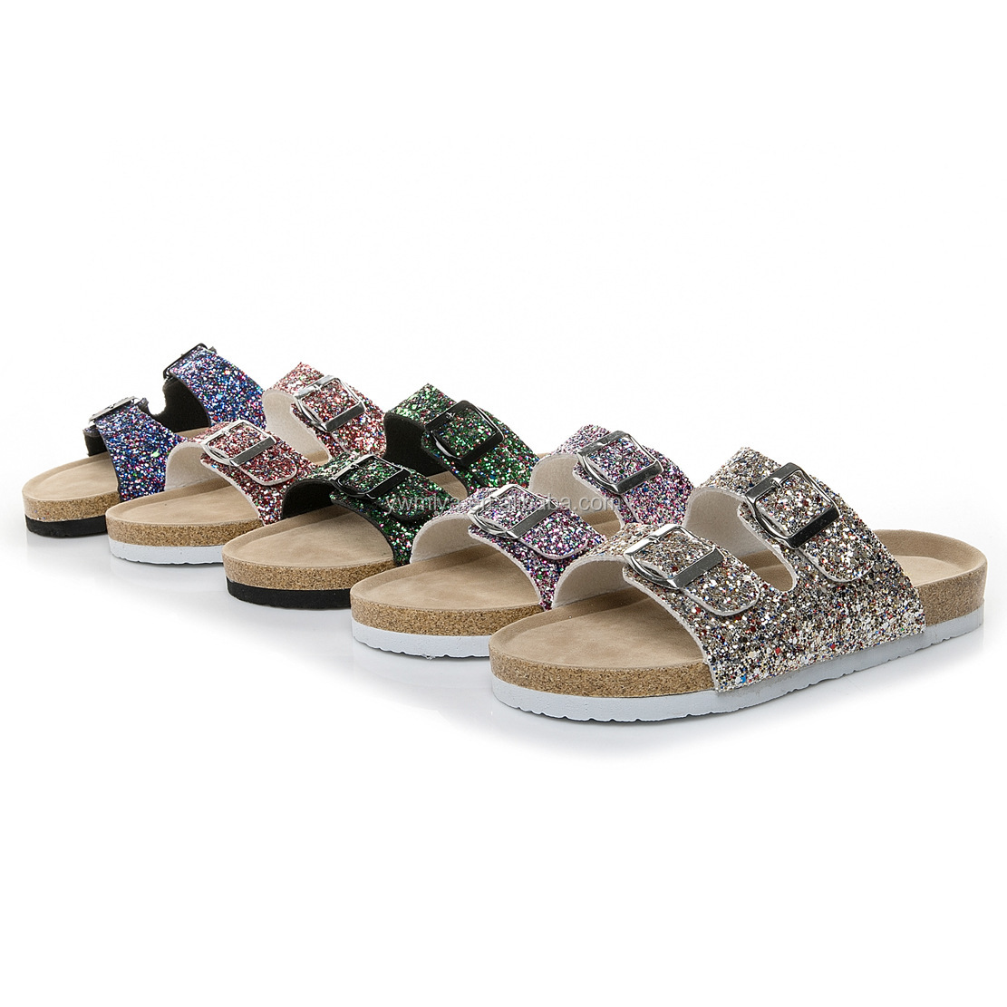 AM-019 hot selling New summer sequined double buckle beach slipper for women multi-color sparkly flip flop wholesale lady <strong>sandal</strong>