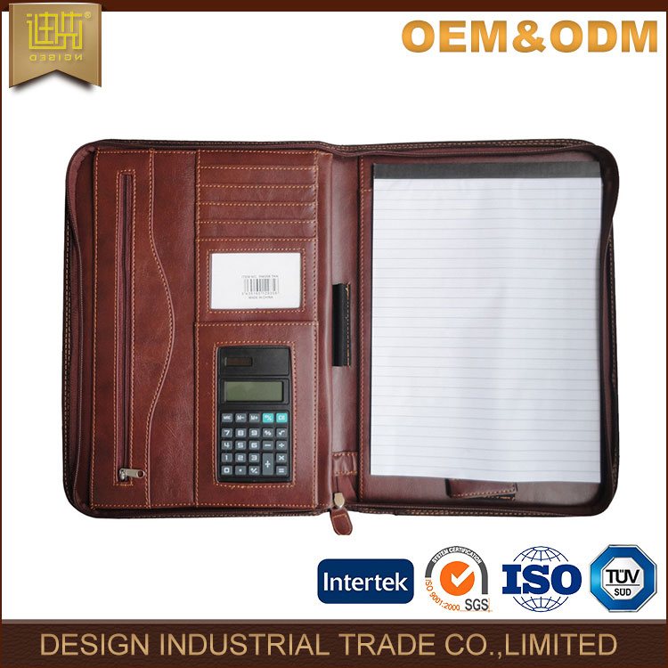 Alibaba Chian hot sell men leather portfolio 2017 high quality a4 padfolio