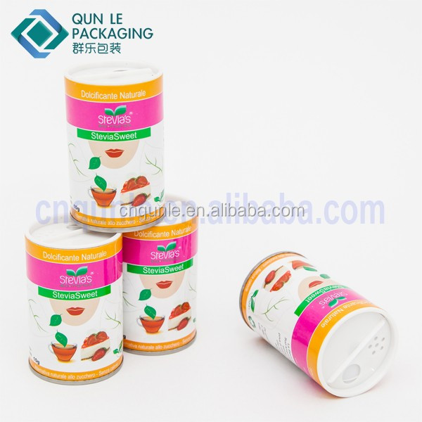 Factory Supply Cylinder Spice Packaging Containers Seasoning paper tube with Sifter