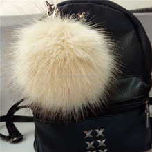 Ladies faux fur ball crystal pompom keychain/key ring for bags & garments
