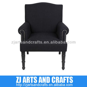 0481 arm chair ( Black Linen scolloped back chair with matching silver studs around arms with matt black legs)