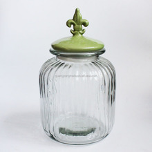 large food Glass Storage Jar With cock shaped Ceramic Lid