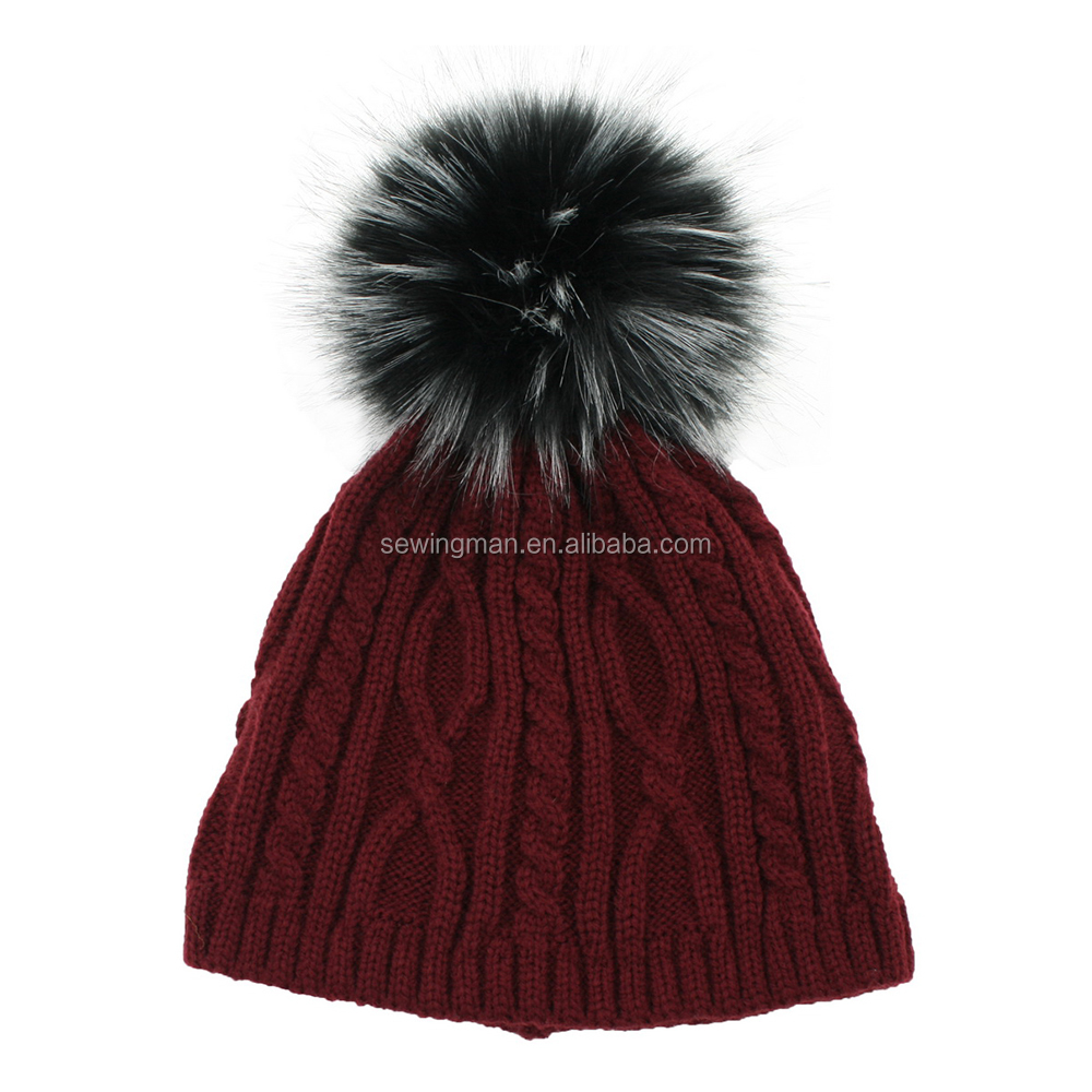 2017 Newest Acrylic knitting winter warm hat beanie with faux fur ball top
