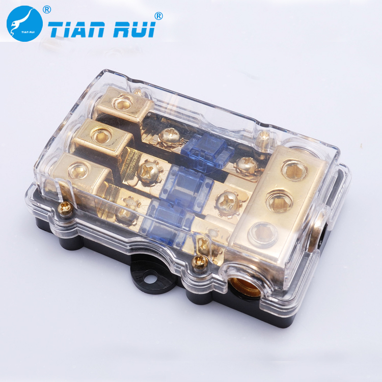 gold plated r fuse holder bolt on auto mini anl ans fuse holder with 0ga x 1-in/0ga x 1 out