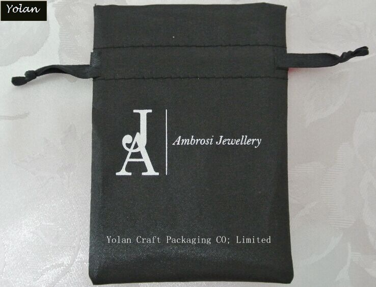 Custom Logo Silk Satin Bag, Drawstring Bag