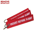 Fashion Jewelry Keychain for Motorcycles OEM Key Chains Red Embroidery Key Fobs INSERT BEFORE FLIGHT Key Chain Tags