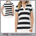 Plus Size XXL Striped Women Polo Shirt,Stretchy Jersey Cotton Polo Shirt With Embroidered Logo