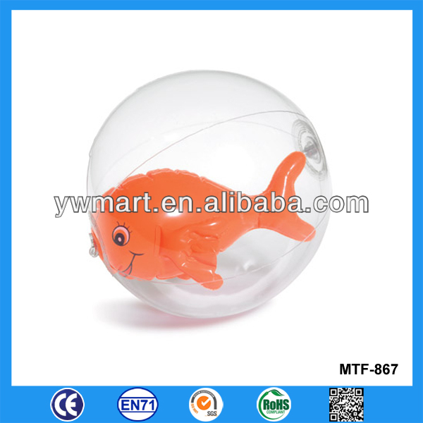 Transparent small PVC beach inflatable ball with animal inside