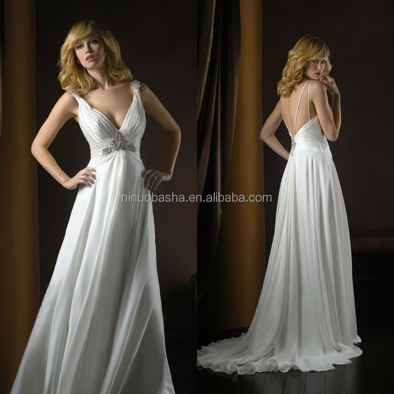 Sexy 2014 Satin Deep V-Neck Ruched Bodice Column Wedding Dress Long Empire Tail Backless Maternity Bridal Gown NB0918