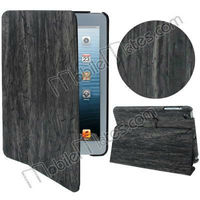 Excellent Hand-crafted Wood Strip Skin Flip Stand Wallet Leather Shell Case Cover for iPad Mini