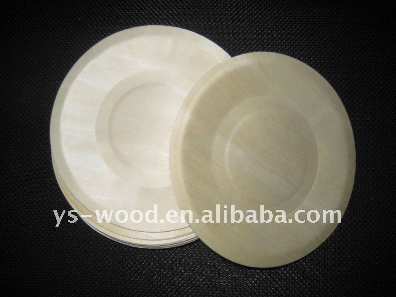 Round polar wooden disposable tray,plate