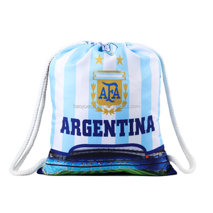 2018 World Cup Argetina Blue and White Stripe Drawstring Bag 30-40L Large Capacity Strong Drawstring Bag
