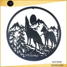 Wolf and moon plate laser cut metal wall art decor