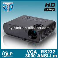 HD 800x600 1080P 3D DLP Projector High Brightness Portable Movie Film 3000Ansi Lumens Home Theater Rear Daytime Video