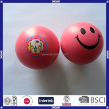 personalized pink smiley face pu stress ball