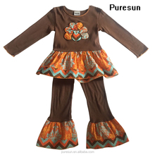 2017 Thanksgiving Holiday Children girls Long sleeve Tunic knit pants suit boutique kids cotton turkey outfits