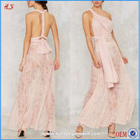 Hot Selling Fashion Multi Way Wear Dresses Maxi Sheer Whiite Lace Dress