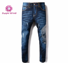 High quality blue denim jeans pants with rhinestone for men