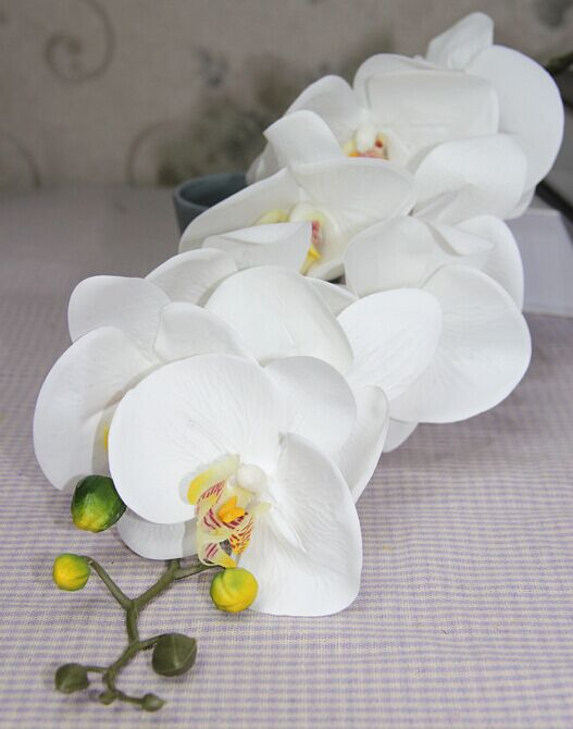 Artificial real touch latex 9 heads white orchid <strong>flowers</strong>