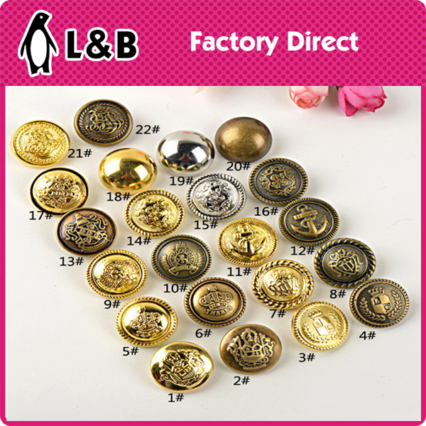 2016 high quality Vintage antiqued metal dome shank buttons military brass buttons