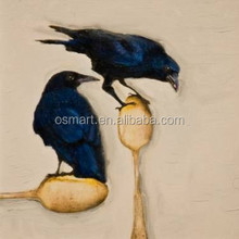 Lovely couple are playing two birds eggs 100%handmade classic decoration oil painting in canvas