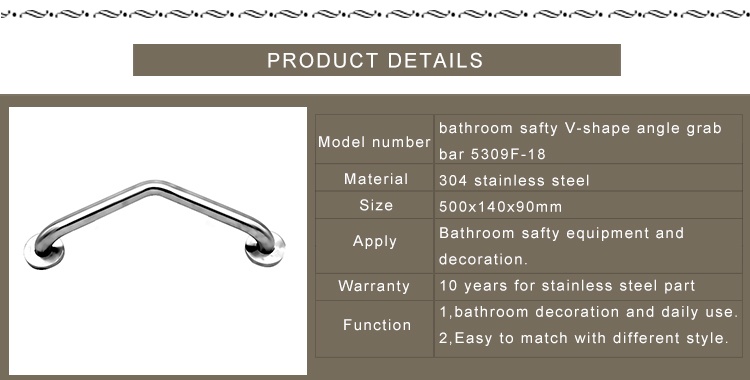 Bathroom accessories modern safty equipment V-shape angle stainless steel toilet grab bar