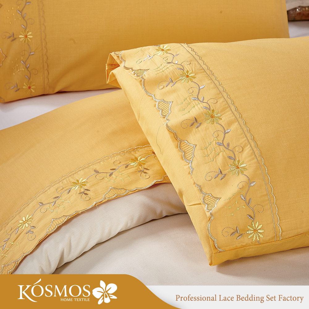 HOME cheap orange embroidered bed sheet lace cotton bed cover sheet