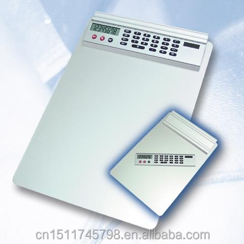 desktop A4 Aluminum metal clipboard with calculator and sliding ruler