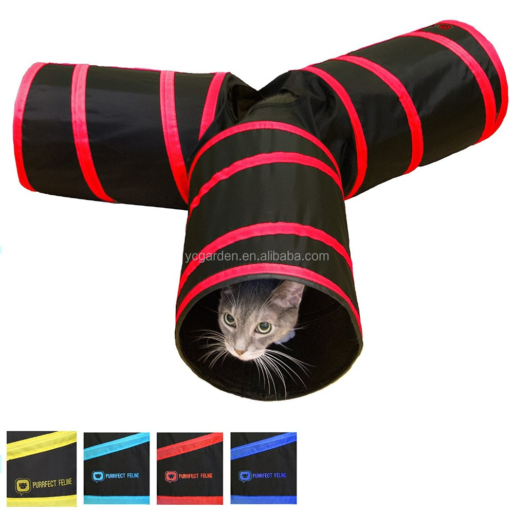 Tunnel of Fun, Collapsible 3-way Cat Tunnel Toy with Crinkle