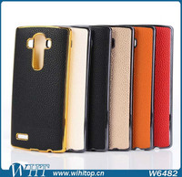 Mobile Phone Accessory Leather Coated PC Hard Cover for LG G4 Case
