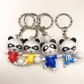Personalized Custom Cartoon Panda Soccer Player Key Chain/OEM Plastic Key Chain Factory/Plastic Key Ring