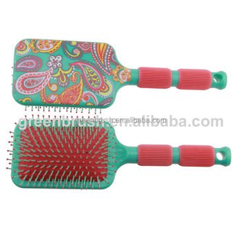 paddle hair brush with rubber handle