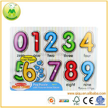 Preschool Educational White Pegs Wooden Number Puzzle