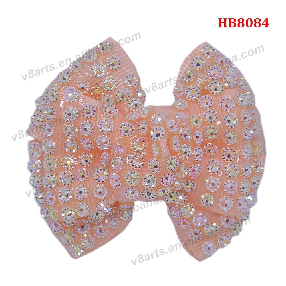 Hot sale baby girls top design ribbon crystal dog hair bows wholesale, boutique hair bows for kids