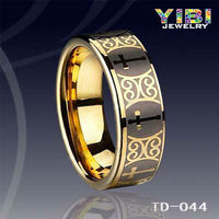 Faux Bijoux Gold Jewelry Micro Plating Golden Tungsten Carbide Couple Wedding Ring
