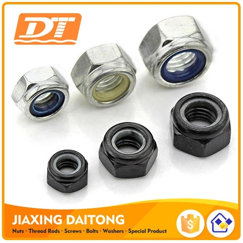 DIN985 Hex Lock Nuts Nylon Insert Lock Nuts Hexagon Nylon Lock Nuts Carbon/Stainless Steel Plain Black Zinc Plated HDG M3-M48