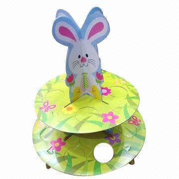 Easter bunny recyclable decorative 2-tier paper cupcake stand/holder, 2 layer floating cup cake stand