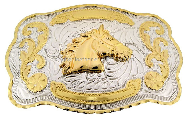 Gold Western Rodeo Style Horse Head Cowboy Cowgirl Belt Buckle