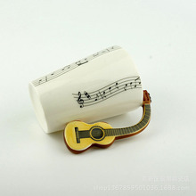 Zogift Coffee Mugs 3D Unique Handle Design Cool Coffee Milk Ceramic Tea Mug Cup with Guitar Handle