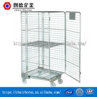 Foldable Warehouse Industrial Mobile Metal Roll Container Trolley